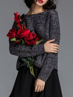 Shop Sweaters - Black Knitted Crew Neck Casual Sweater online. Discover unique designers fashion at StyleWe.com.