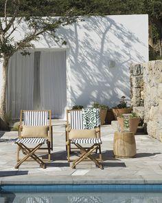 Poolside lounging | Santa Cruz Outdoor Pillow Cover via Serena & Lily