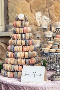 It's not your traditional tiered wedding cake or cupcake tower, but the newest sweet treat we are obsessing over is the macaron wedding cake. Indulge yourself below in our amazing macaron wedding cake inspiration! Candybar Wedding, Wedding Sweets, Wedding Favors, Macaron Wedding, Dessert Bar Wedding, Food At Wedding, Fruit Wedding, Wedding Cupcakes, Wedding Decorations
