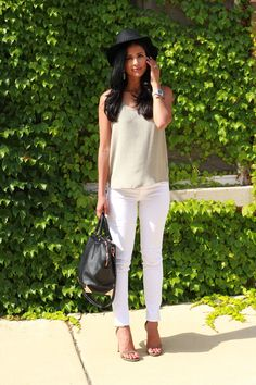 Summer style white jeans silk tank and sandals