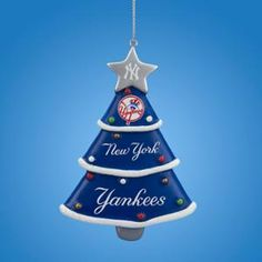 35 navy blue and silver major league baseball new york yankees christmas tree ornament blue