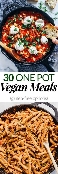 30 One Pot Vegan Meals – Emilie Eats Looking for easy and delicious dinner recipes? This round-up of 30 One Pot Vegan Meals is a great place to start! There is something for everyone, from curry to chili to pasta. Pasta Recipes, Diet Recipes, Vegetarian Recipes, Cooking Recipes, Healthy Recipes, Diet Meals, One Pot Meals, Easy Meals, Vegan Stew