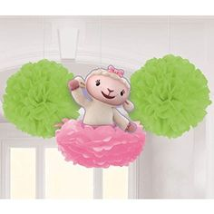3 Disney Doc McStuffins Lambie Birthday Party Fluffy Dangling Decorations
