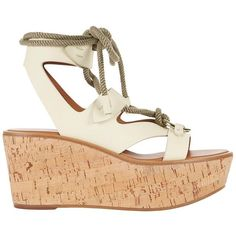 Frye Women's Dahlia Rope Wedge Sandals ($498) ❤ liked on Polyvore featuring shoes, sandals, white, ankle tie sandals, frye sandals, rope sandals, ankle tie wedge sandals and ankle wrap sandals