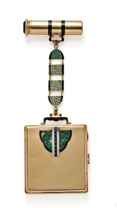 Art Deco Lady's 18kt Gold, Enamel, and Jade Compact and Lipstick Case, France,