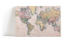 Vintage verdenskart veggbilde
