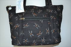 Quilted Fabric Handbag Purse Black With Cat Faces