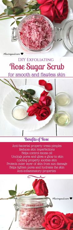 Rose Sugar Scrub can make your skin smooth and glowing. It's anti-bacterial property treats pimples and also even tones the skin. It hydrates skin deeply. Check our nourishing diy rose sugar scrub.