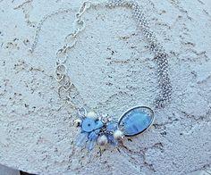Fashion Silver Tone Choker Aquamarine Plastic Beads Adjustable Chain #Choker