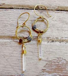 """Crystal Brass Drop Earrings $43.00 on """"Scoutmob,com"""" a site a wheel to Etsy.."""