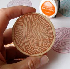 Ball of Yarn - Hand Carved Rubber Stamp. $14.00, via Etsy. Great gift for knitters and crocheters.