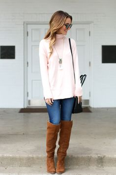 pale pink sweater + over-the-knee boots