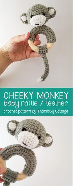 Super cute crochet monkey rattle!