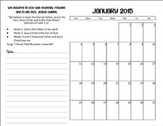 2015 Primary Calendar     This is a calendar I put together, it easy to print out, it just has the monthly theme, scripture and what each weeks topic and place to add your own notes. No color just black and white :) It a pdf file so its way easy to print!