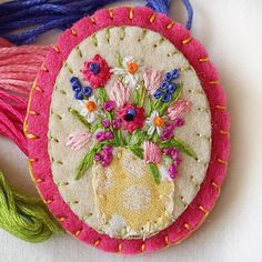 Hand Embroidered Mixed Flowers Felt Brooch with Sunflower Red and Yellow Tulips and Daisies Botanical Embroidery Art Small Brooch