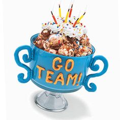ice cream victory cup..........Decorate ice cream scoops and top with whipped cream and sprinkles for a dessert that supports your favorite team.