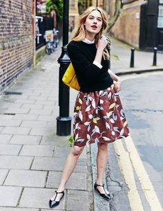 Camille Rowe / spring_ button-up shirt, layers, sweater, midi-skirt, color, flats