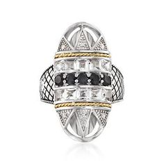 """Ross-Simons - Andrea Candela """"Art Deco"""" 1.60 ct. t.w. White Topaz and Black Spinel Ring With Diamonds in Sterling Silver. Size 7 - #865577"""