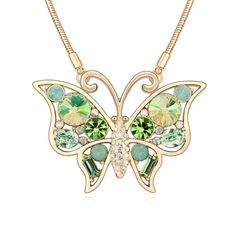[$12.34] Austrian Crystal Necklace - Smiling Butterfly (Colour: Luminous Green)