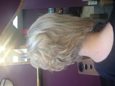 Short stacked bob with platinum blonde color.