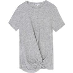 Iro Short Sleeve T-Shirt (320 AUD) ❤ liked on Polyvore featuring tops, t-shirts, grey, drape top, gray top, short sleeve tees, gray tee и draped tee