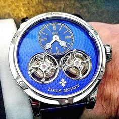 REPOST!!!  Live from our Instafriends @richeswatches , our Sideralis Double Tourbillon - a deep blue morning with our fans, thank you for your support ! #Watchmaking #Horology #Horlogerie #WatchOfTheDay #InstaWatch #Live #Luxury #LouisMoinet #tourbillon  Photo Credit: Instagram ID @louismoinet Tourbillon Watch, Beautiful Watches, Luxury Watches, Deep Blue, Timeless Fashion, Watches For Men, Photo Credit, Chefs, Instagram