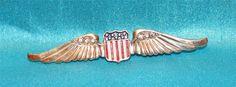 WWII USAAF PILOT WINGS ENAMEL RHINESTONES STERLING CORO SWEETHEART PIN NEAR MINT