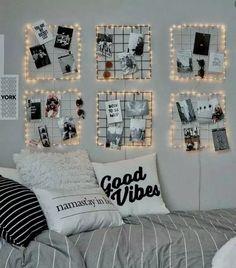 43 Creative Ways Fairy Lights Bedroom Ideas Teen Room Decor Dorm Room Walls, Cool Dorm Rooms, Bed Room, Modern Bedroom Decor, Room Ideas Bedroom, Cozy Bedroom, Modern Teen Room, Cute Teen Rooms, Contemporary Bedroom
