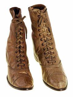 Rare Antique Childrens 1869 Civil War Era Tan High Lace Boots, Childrens Never…