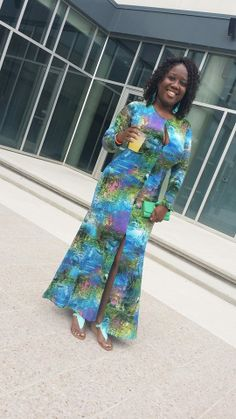 #mychicandcurvystyle #happychicandcurvyclient Maureen looks chic in Chic and Curvy thanks for sharing your beautiful pic with us  Dress available at http://www.chicandcurvy.com/bodycons/product/9335-new-plus-size-keyhole-floor-length-gown-in-blue-mixed-print-1x-2x-3x
