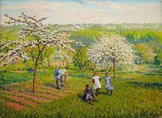 Gustave Camille Gaston CARIOT (1872-1950) Le printemps, 1919 (?) Huile sur toile, signée et datée en bas à droite 54 x 73,5 cm - Aguttes - 10/02/2016