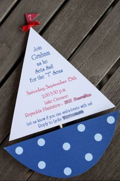 DIY invitation nautical sailing blue pokadot boys boat