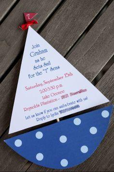 DIY invitation nautical sailing blue pokadot boys boat