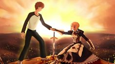 Emiya Shirou x Saber Arturia Saber X Shirou, Shirou Emiya, Manga Anime, Anime Art, Anime Music Videos, Fate Zero, Fate Stay Night, Image Boards, The Outsiders