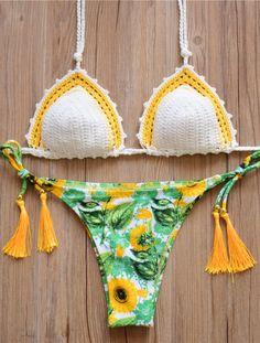 Green Sunflower Brazilian Bikini Set Swimwear Swimsuit #bikini #swimsuits #swimwear