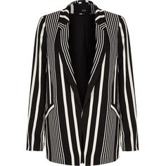 River Island Monochrome striped blazer ($120) ❤ liked on Polyvore featuring outerwear, jackets, blazers, coats / jackets, monochrome, women, river island, tall blazer, stripe blazer and stripe jacket