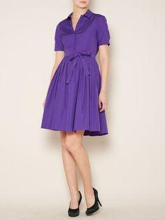 Max Mara Studio Europa Pleated Shirt Dress with Tie Belt in Purple - Lyst