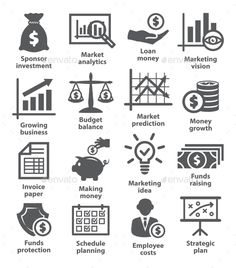 Business economic icons on white. Editable EPS and Render in JPG format.