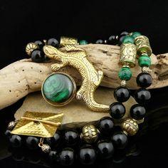 Handcrafted Artisan Necklace @rubylanecom Exotic Artisan Bohemian Malachite, Onyx and Hand Carved Heavy Brass Gecko Necklace #rubylane #artisan