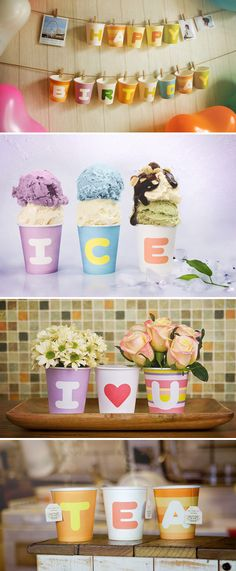 Easy decor with cups and color.