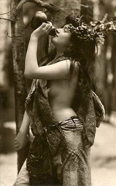 In Greek mythology, maenads (Ancient Greek- μαινάδες, mainádes) were the female followers of Dionysus (Bacchus in the Roman pantheon).   When in Greece..do as the Greek  vintage photo 1926