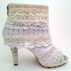 "upcycled Women Shoes | ""Lacy Lift"" for Women's Booties : lace covering for shoes, upcycled ..."