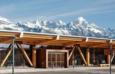 Jackson Hole Airport is seven miles north of Jackson, in Teton County, Wyoming. It is the largest airport in Wyoming and is owned by the Jackson Hole Airport Board. Jackson Hole Mountain Resort, Jackson Hole Wyoming, Jackson Hole Airport, Wood Truss, Airport Design, Architect Design, Building Design, Wood Design, National Parks