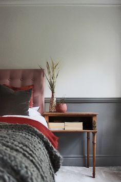 Dusky pink rust and grey tones to create a calm guest bedroom in a Victorian mill house Small Master Bedroom, Girls Bedroom, Bedroom Decor, Bedrooms, Bedroom Ideas, Interior Styling, Interior Design, Home And Family, Wall Lights
