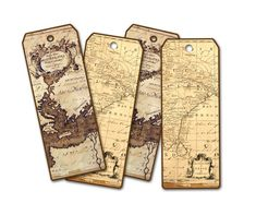 Antique map bookmarks travel gifts pinterest antique maps ancient map bookmark set of four world map atlas bookmark tag travel theme bookmarks party favor honeymoon wedding favor gumiabroncs Gallery