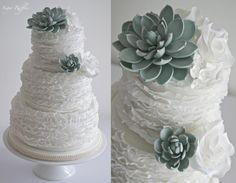 Succulent Ruffle Wedding Cake  - Cake by Sugar Ruffles