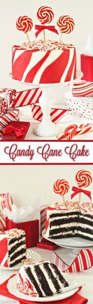 Candy Cane Chocolate Cake - moist devil's food cake with extra-minty candy cane frosting! | From SugarHero.com