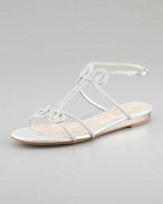 www.renecaovilla.com, Rene Caovilla Flat Strass Sandal - Neiman Marcus, bride, bridal, wedding, wedding shoes, bridal shoes, haute couture, luxury shoes