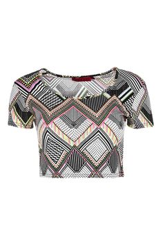Philippa Neon Aztec Short Sleeve Crop Top - Casual Tops - Tops - Clothing