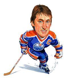 Wayne Gretzky Oilers, Kings and Rangers Wayne Gretzky, Thing 1, Celebrity Caricatures, Sports Figures, Sports Art, Sports Teams, National Hockey League, Ice Hockey, Bruins Hockey
